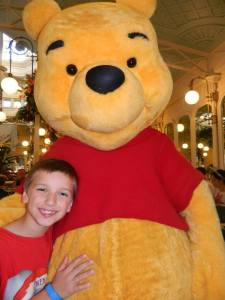 And now…hugging Pooh… Bear. Hugging Pooh Bear.